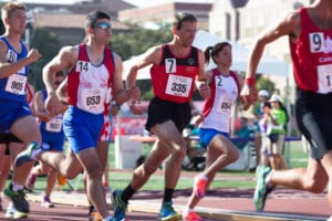 Special Olympics World Games Los Angeles 2015 Nach dem Start sichert sich Christian Weißenberger eine gute Position im Läuferfeld. Foto: SOD/Luca Siermann